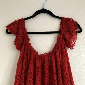 Free People Tops - 2/$25 FP Beach Free To Be Eyelet Top Red Size S